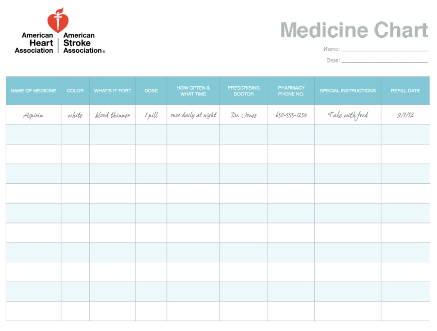 daily medication chart template printable