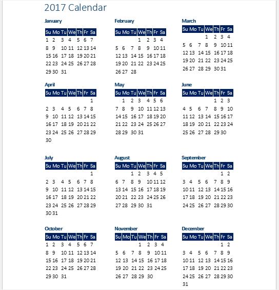 calendar templates word