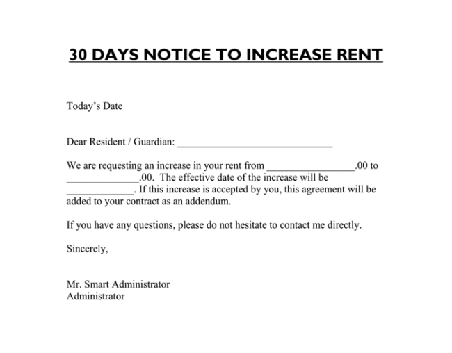 rent raise notice