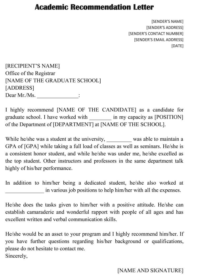 Academic Recommendation Letter (20+ Sample Letters  Templates)