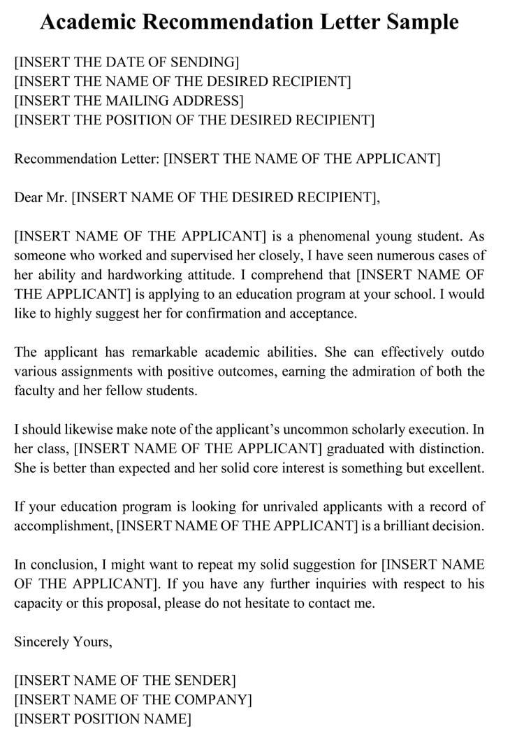 academic recommendation letter sample