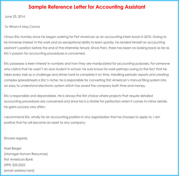 Accountant Reference / Recommendation Letters - 15+ Samples,Formats - letters of reference template
