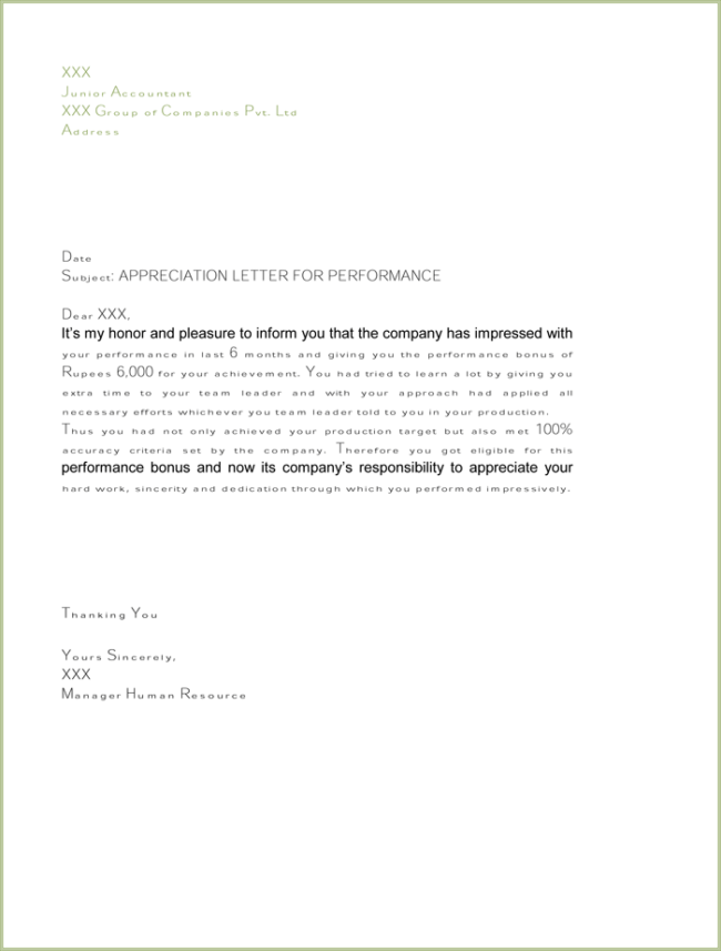 letter of thanks and appreciation