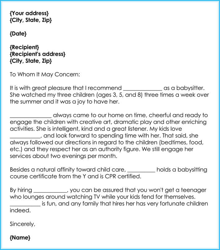 Babysitter Reference Letter - Best Writing Guide  Free Samples