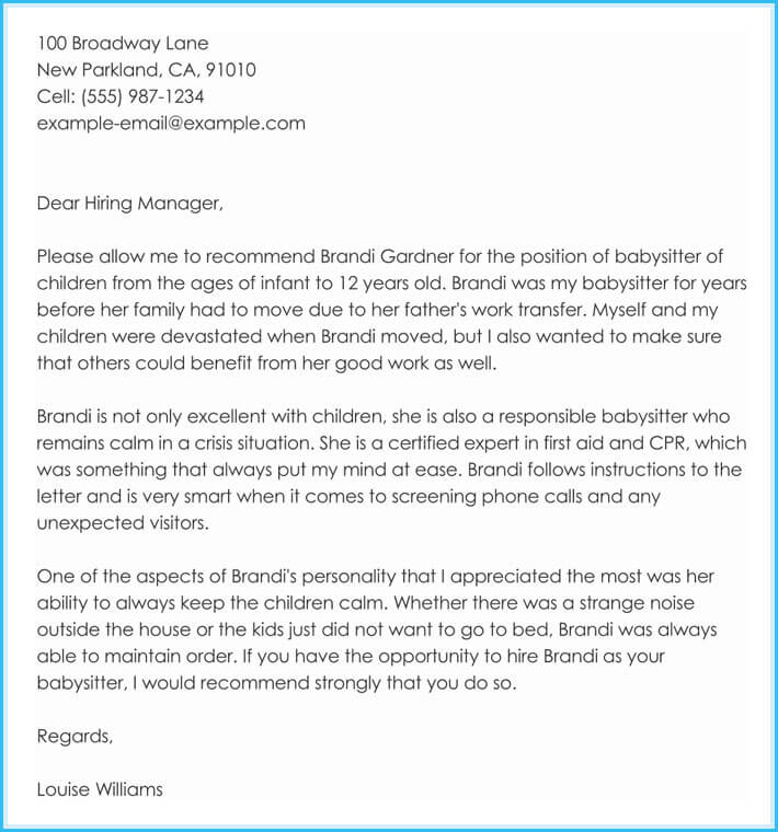 Babysitter Reference Letter - Writing Guide  Free Sample Letters