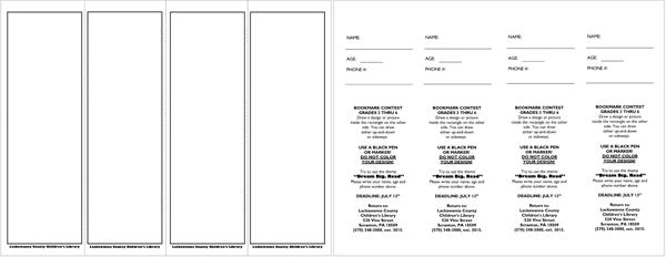microsoft word bookmark template
