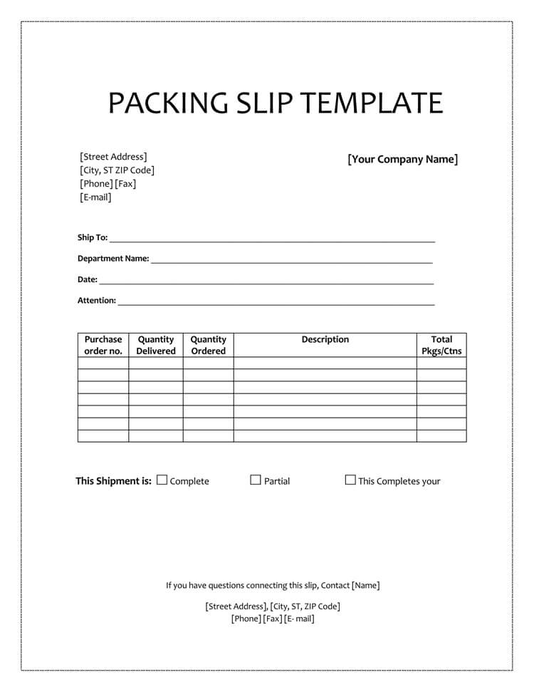 packing slip word template