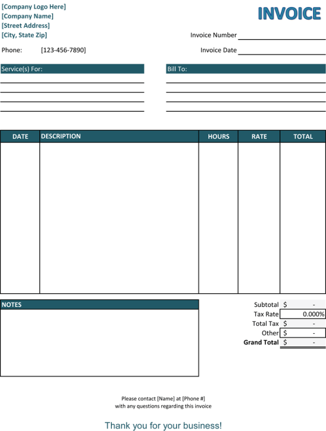 invoice for services rendered template - livmoore.tk, Invoice templates