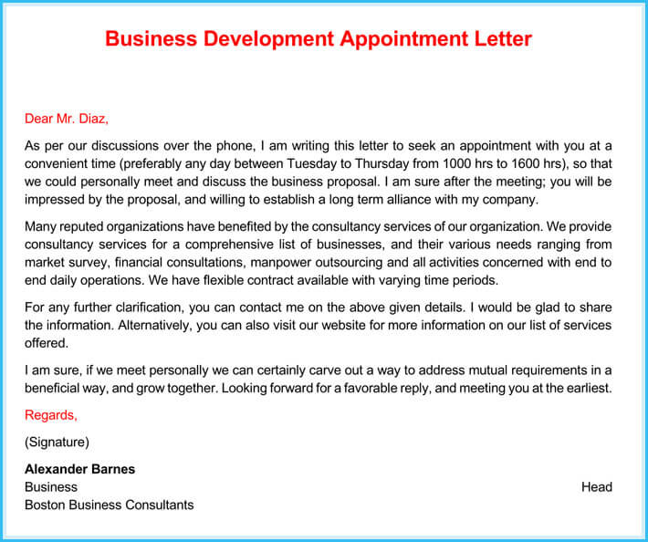 Business Appointment Letter (9+ Sample Letters and Writing Tips)