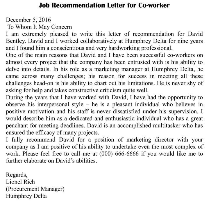 Letter of Recommendation for Co-Worker (18 Sample Letters  Examples)