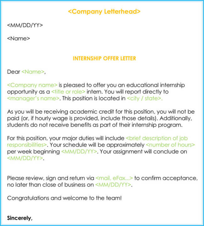 Sample Internship offer  Appointment Letters (7+ Templates  Formats)