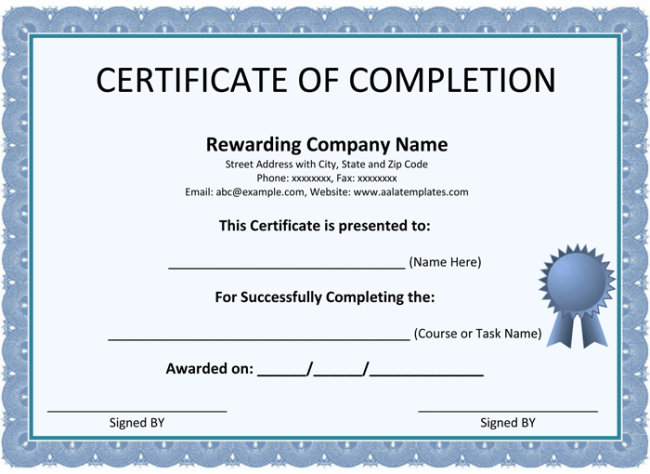 Template For Certificate Of Completion. Certificate Of Completion
