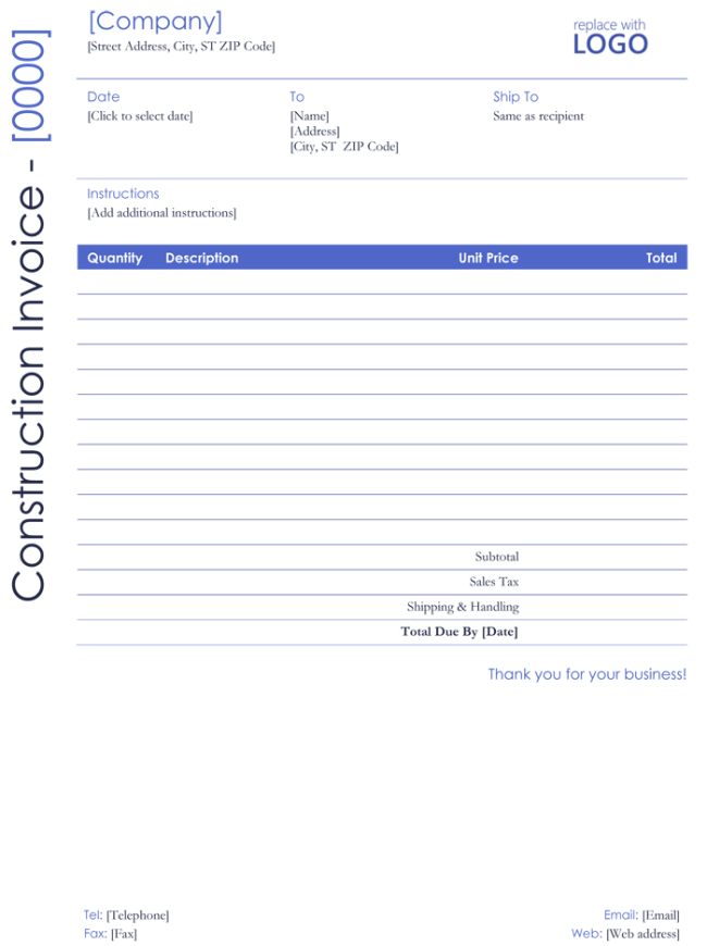 bill invoice template word