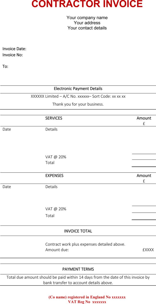 consultant invoice sample
