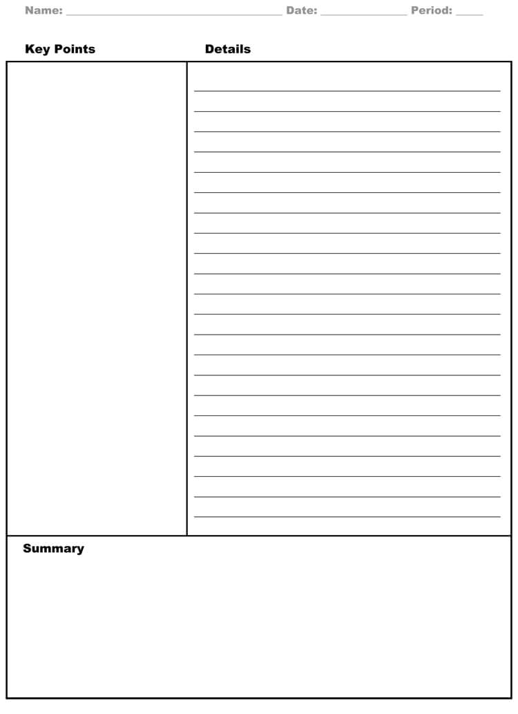 note taking word template