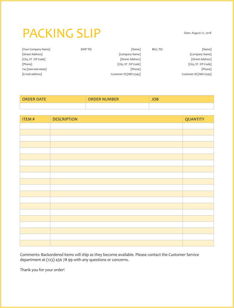 25+ Free Shipping  Packing Slip Templates (for Word  Excel)