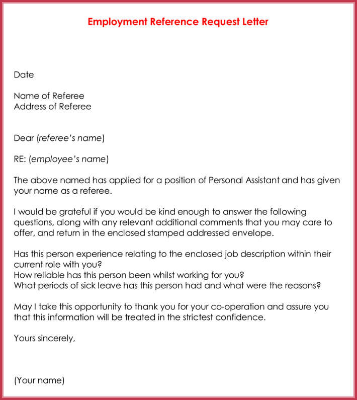 Job Reference Request Letter Images - Letter Format Formal Sample