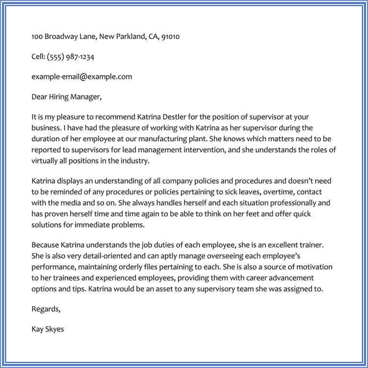 Sample Recommendation Letter Written by Supervisor for Employee
