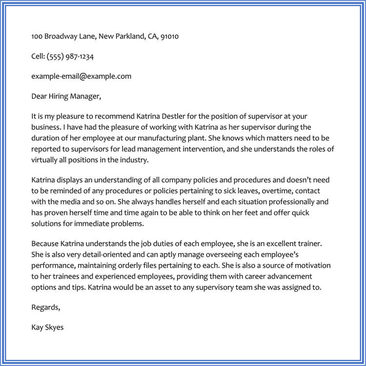 recommendation letter from boss