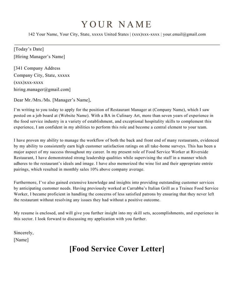 food services cover letters - Pinarkubkireklamowe