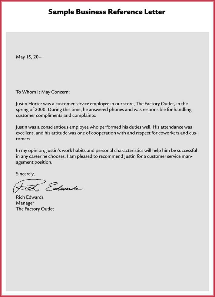Formal Reference Letter - 8+ Samples, Formats Download in PDF  Word - customer reference letter