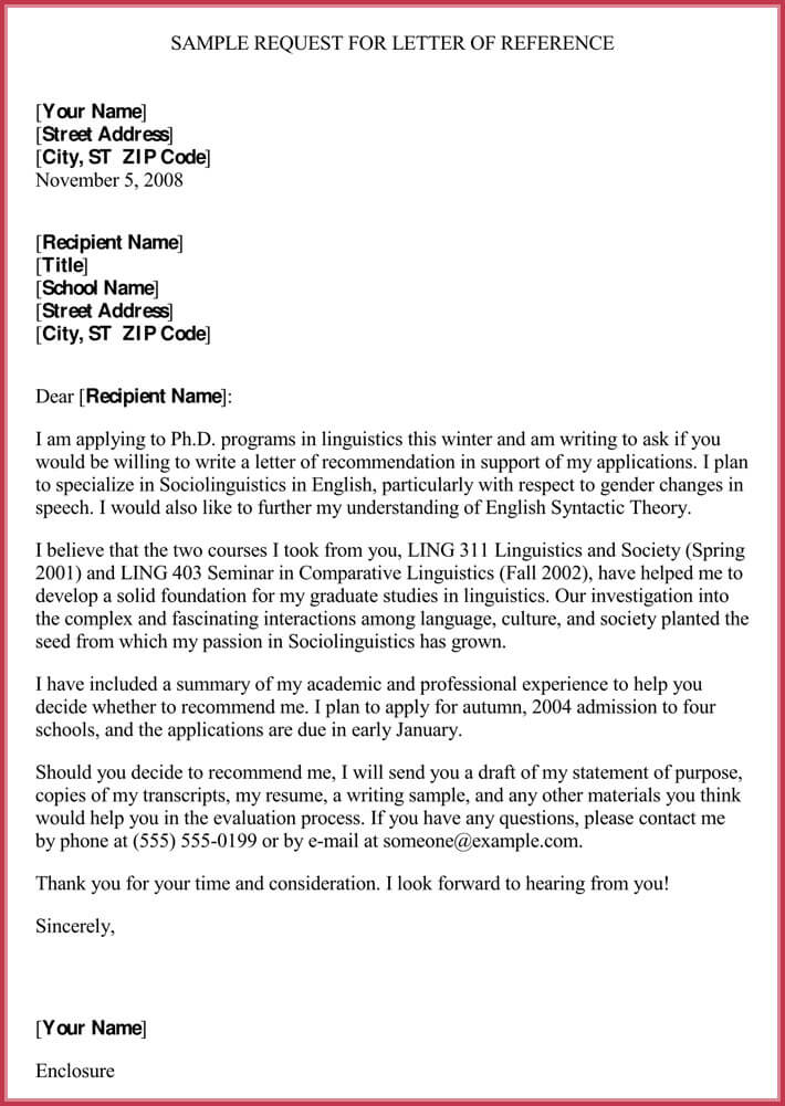 Formal Reference Letter Format (8+ Sample Letters and Examples)