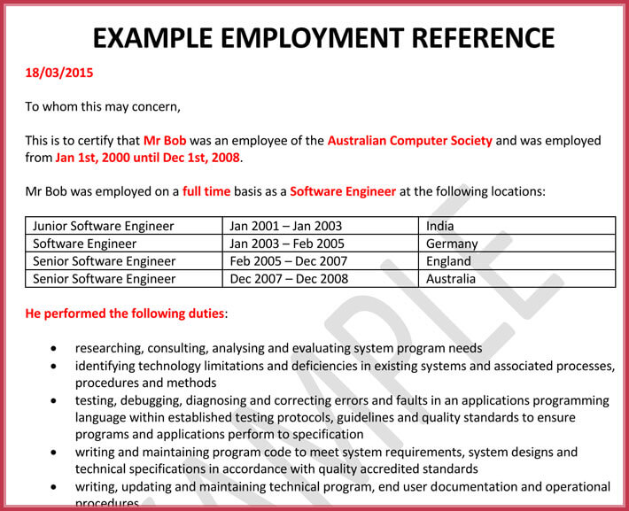 reference letter employment