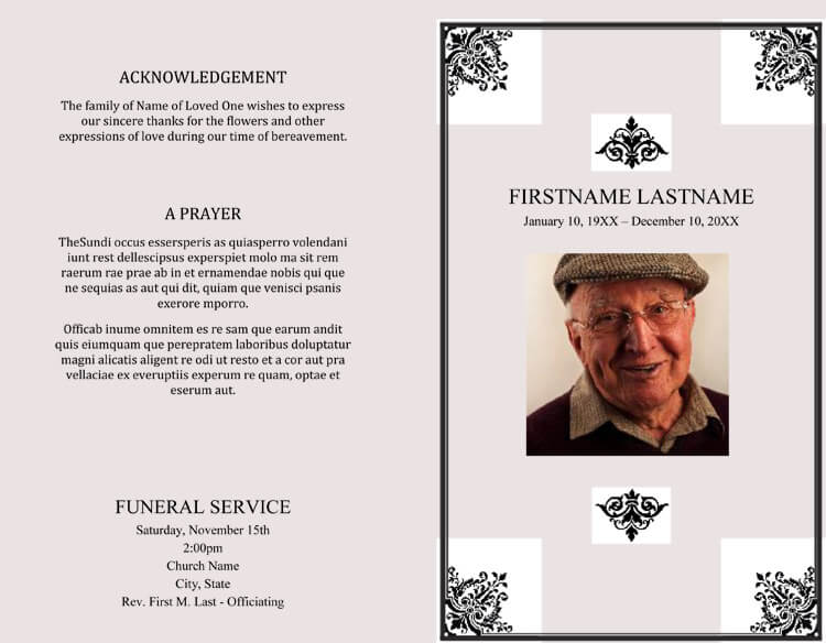 25+ FREE Funeral Program Templates ( Word, Photoshop, Illustrator)