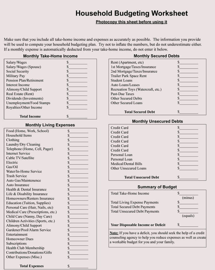 12+ Household Budget Worksheet Templates (Excel) - Easy Budgets - free household budgets