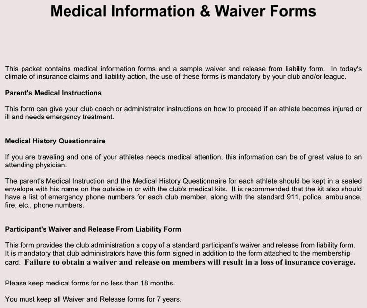 11 Sample Medical Waiver Forms (Generic, Child, Employee)