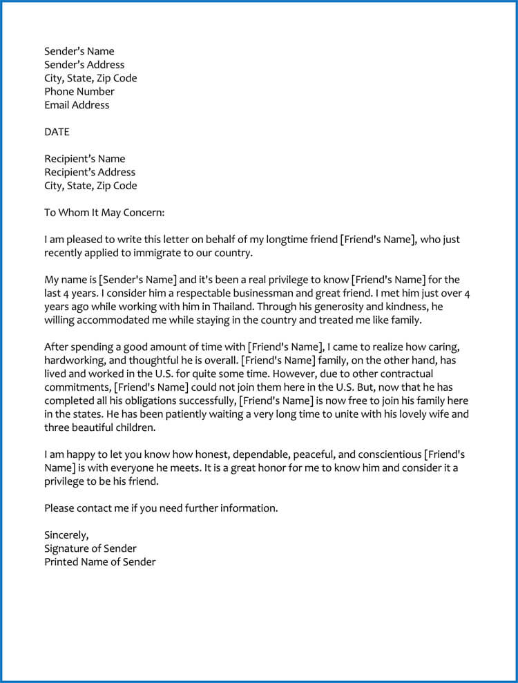 Good Moral Character Letter for Immigration (Samples  Templates)