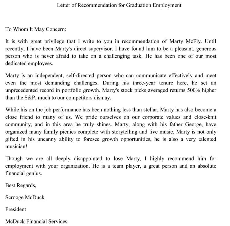Graduate School Recommendation Letter (Sample Letters and Examples)