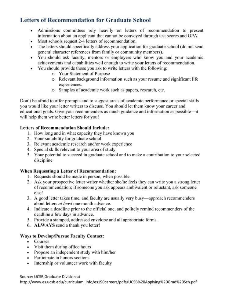 grad school recommendation letter template