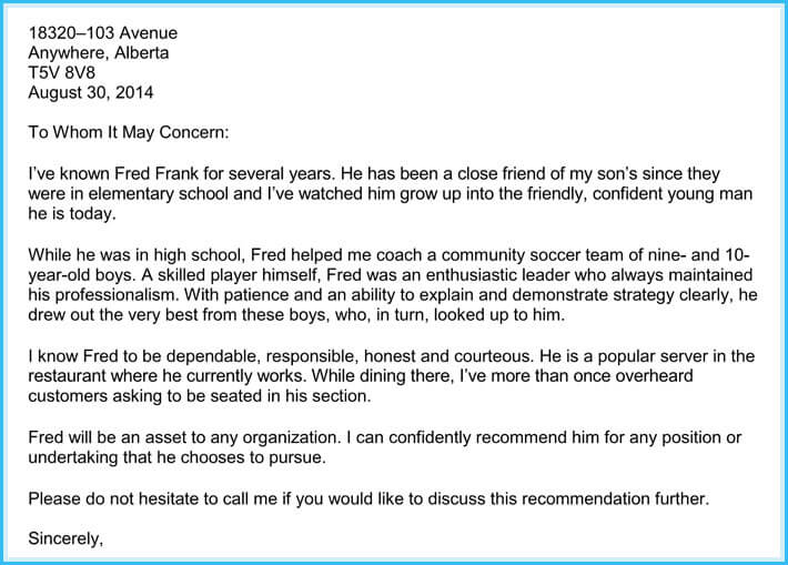 sample recommendation letter for immigration