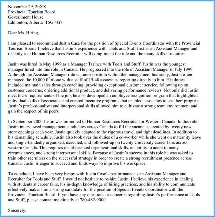 letter of recommendation for a family member for immigration - Canas