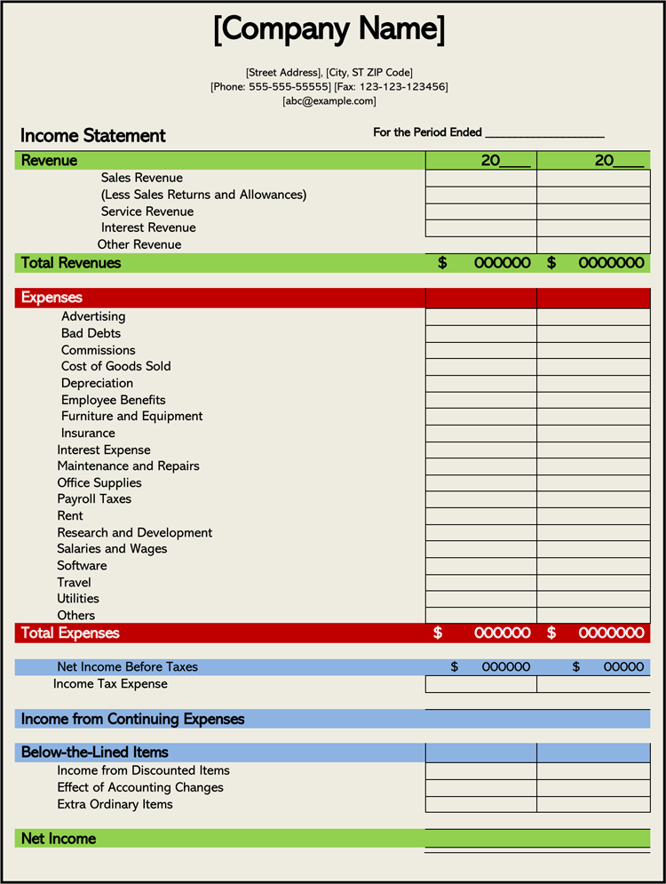 monthly statement template