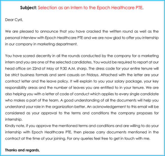 Internship Offer  Appointment Letter Template - 7+ Samples  Formats