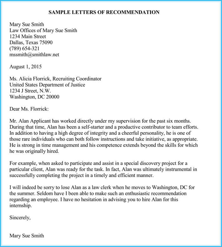 Internship Reference / Recommendation Letters (8+ Best Samples)