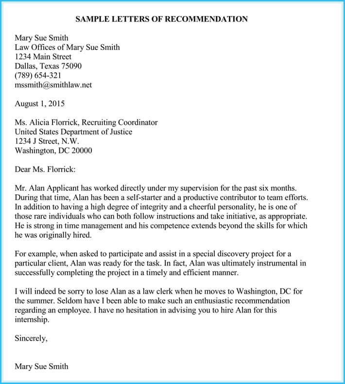 sample letter of recommendation for internship