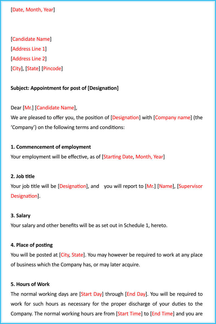 Job Appointment Letter - 12+ Samples, Templates  Writing Tips - job appointment letter