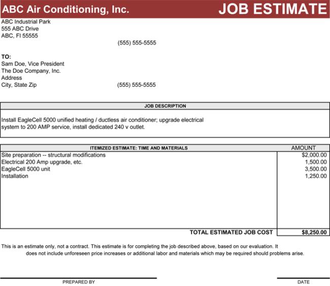 job estimate template word
