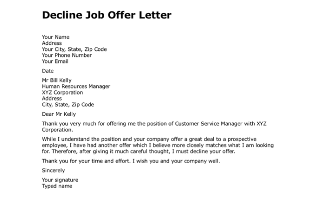Letter To Decline Job Offer Best Of Letter To Decline Offe