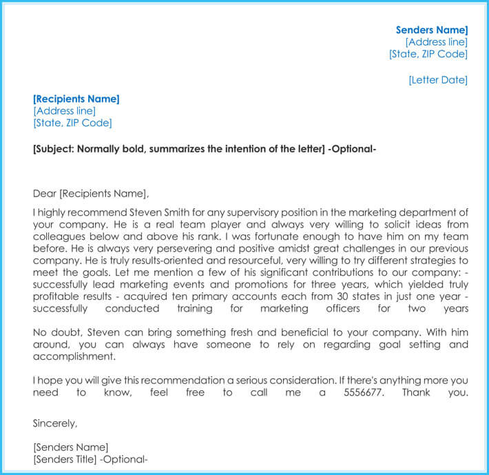 sample recommendation letter for job