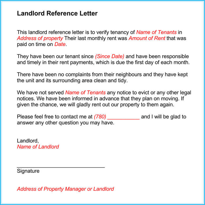 tenant recommendation letter from landlord