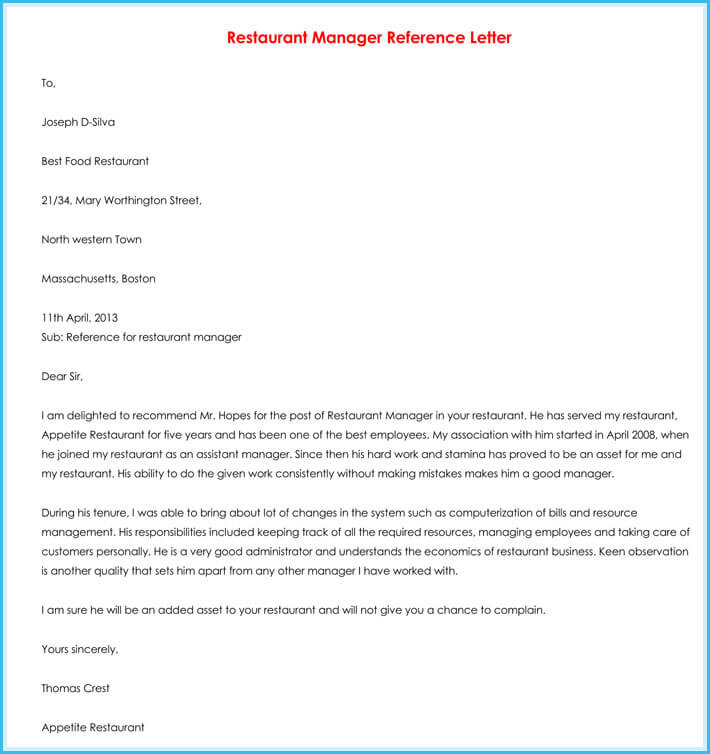 Manager Reference Letter (7+ Samples to Write Manager Job Reference)