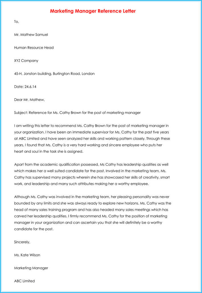 Manager Reference Letter - 7+ Samples to Write Manager Job Reference