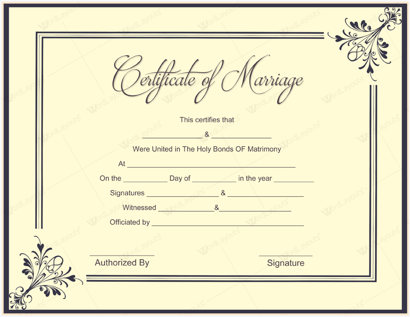 fake marriage certificate online free