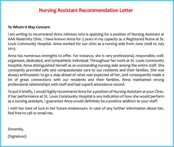 Reference Letter Examples - 20+ Samples, Formats  Writing Tips - nursing recommendation letter