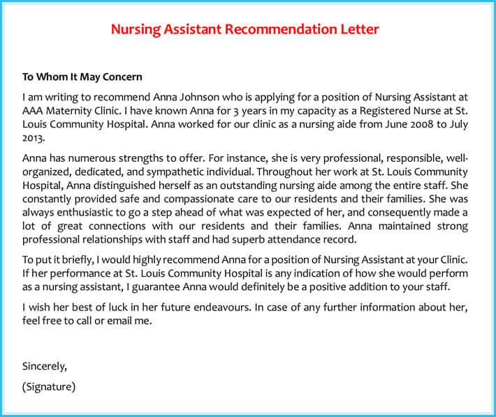 recommendation letter for cna