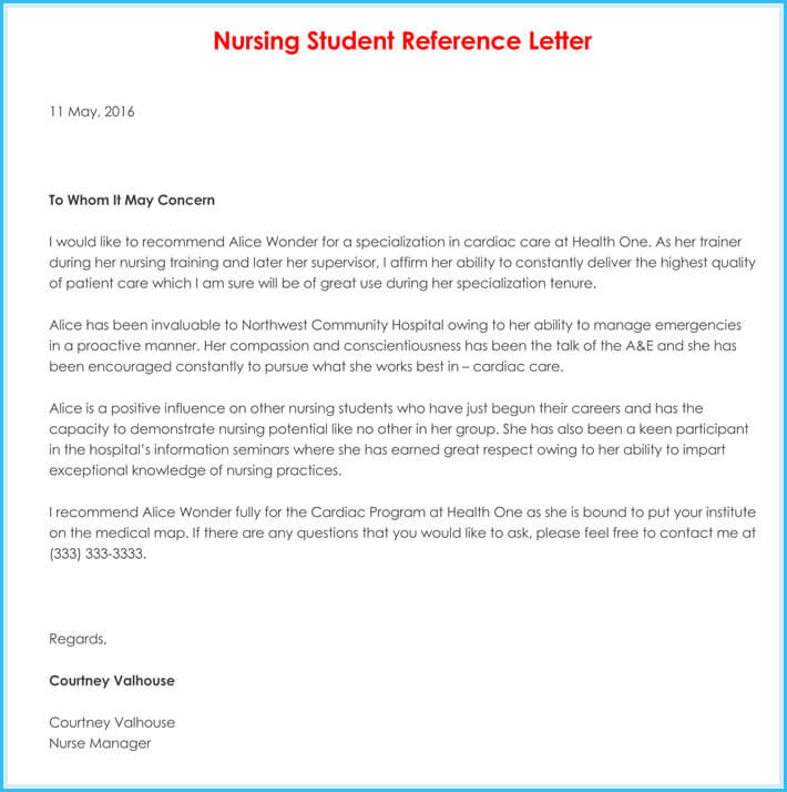 Nursing Reference / Recommendation Letters (9+ Sample Letters)